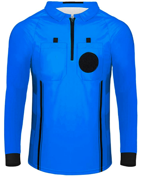 Blue Long Sleeve Soccer Referee Shirt
