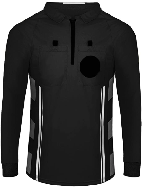 Black Long Sleeve Soccer Referee Shirt