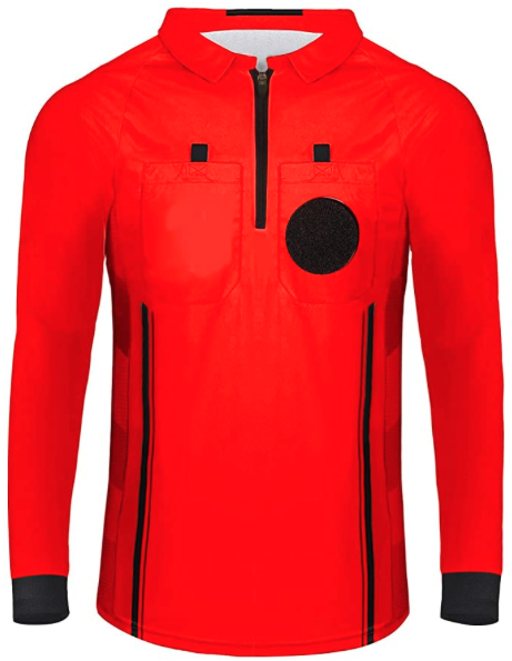 Red Long Sleeve Soccer Referee Shirt